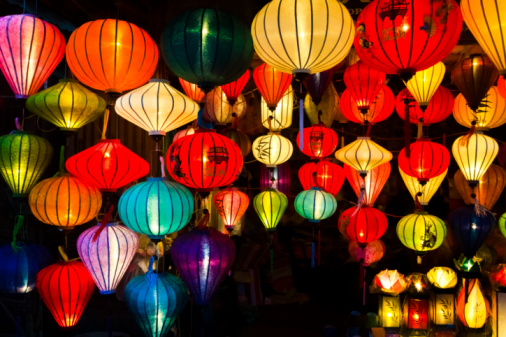 Vietnam, Hoi An, lighted Chinese lanterns at night